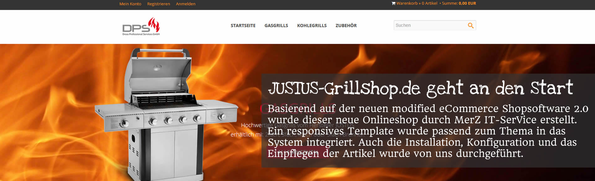 Onlineshop Justus-Grillshop.de auf Basis der modified eCommerce Shopsoftware geht an den Start