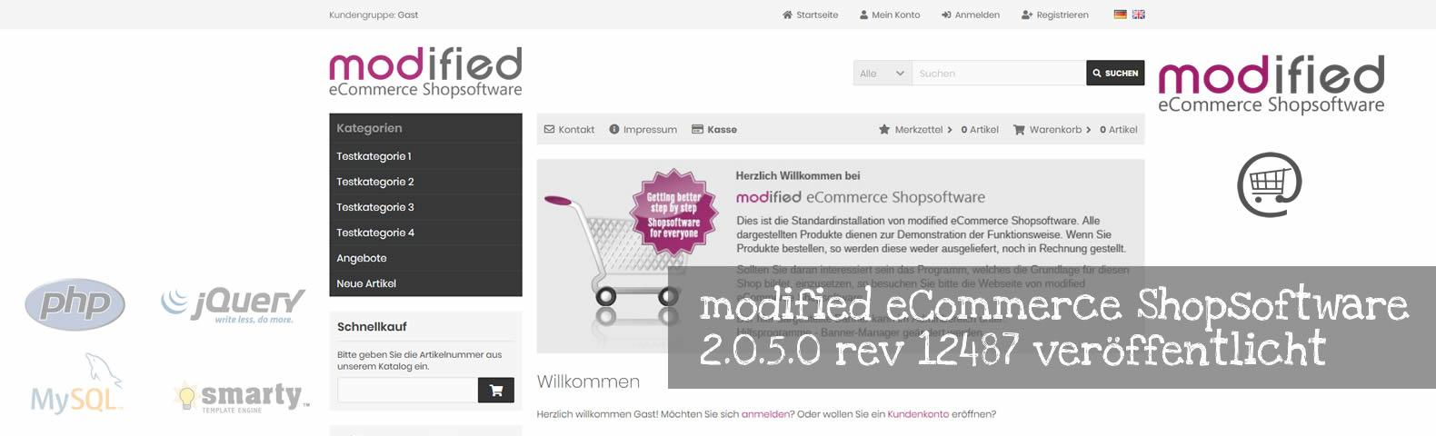 modified eCommerce Shopsoftware 2.0.5.0 rev 12487 veröffentlicht