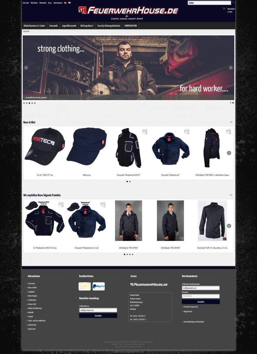 Brandheiss: Neues Design für den Onlineshop FeuerwehrHouse.de
