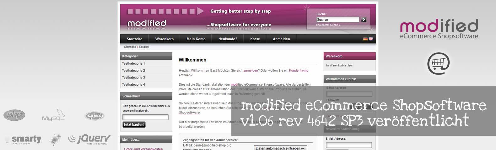 modified eCommerce Shopsoftware 1.06 rev 4642 SP3 veröffentlicht