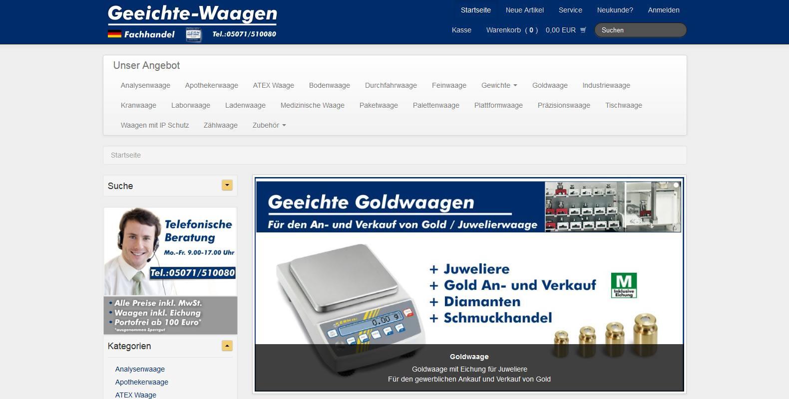 Der Onlineshop Geeichte-Waagen.de startet mit umfangreichem Angebot