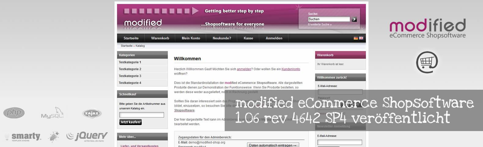 modified eCommerce Shopsoftware 1.06 rev 4642 SP4 veröffentlicht