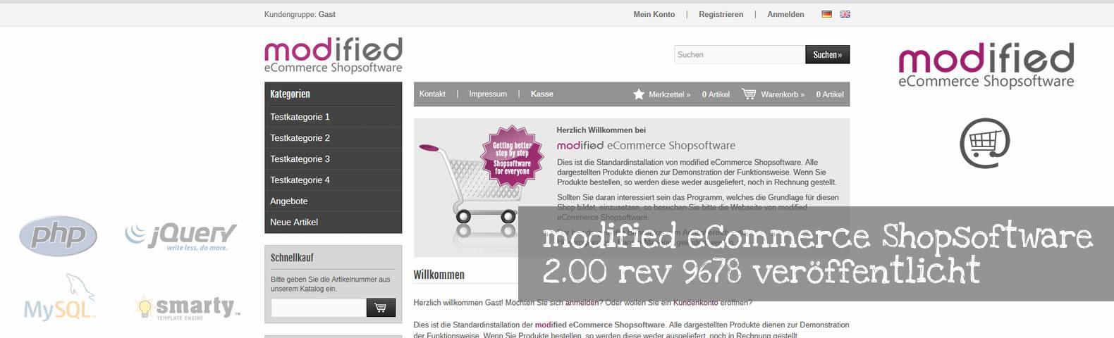 modified eCommerce Shopsoftware 2.00 rev 9678 veröffentlicht