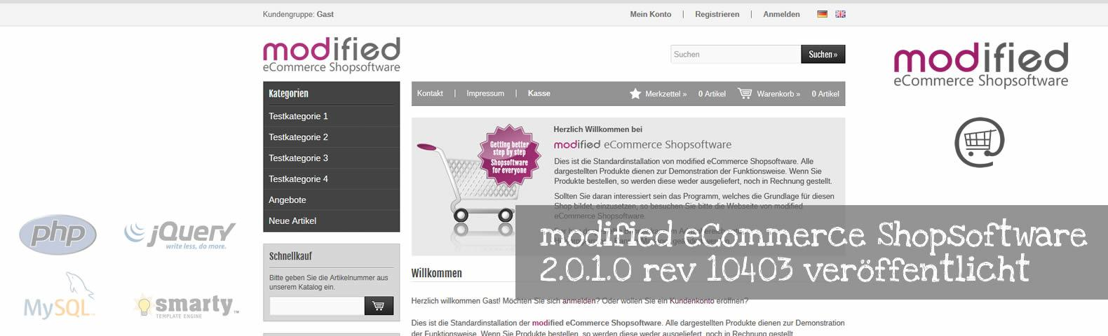 modified eCommerce Shopsoftware 2.0.1.0 rev 10403 veröffentlicht