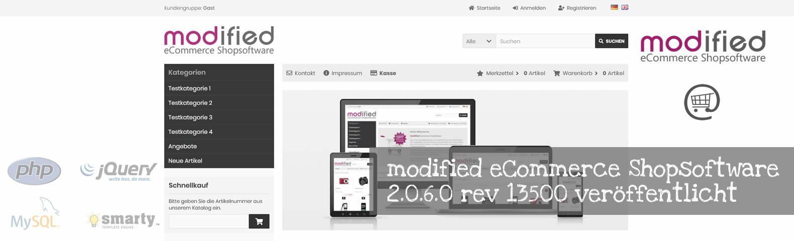 modified eCommerce Shopsoftware 2.0.6.0 rev 13500 veröffentlicht